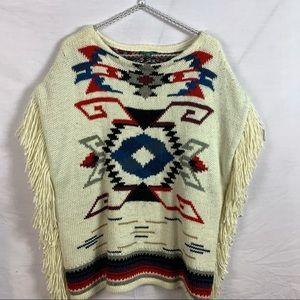 Lauren Ralph Lauren poncho sweater with fringe XL